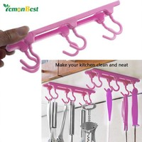 VONFC9 Kitchen Cupboard Hooks Ceiling Hanging Hooks Storage Rack with Traceless Adhesive Glue
