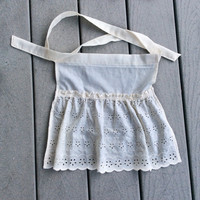 Cream Ruffled Apron SET,  Small Cotton apron, Cream Eyelet Apron Gift for Mother and Girl French Maid apron Old Fashioned Vintage inspired