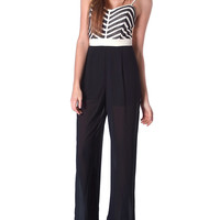 Perfect Timing Jumpsuit - Black/Ivory