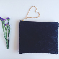 Black Floral Lace Clutch. Black Floral Lace Clutch. Black Lace Pouch.