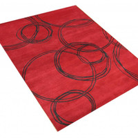 Michael Anthony Furniture Hand Tufted 5x8 Red/Black Wool Blend Rug