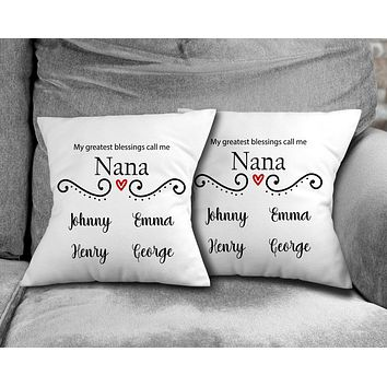 Personalized Throw Pillow   Custom Decorative Pillow   Nana's Greatest Blessing