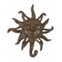 Sun Face Cast Iron Wall Hooks - Set of 3 - Antique Brown - Hangers for Coats, Aprons, Hats, Towels, Pot Holders, More