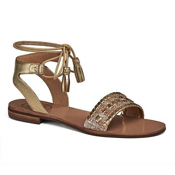 Tate Raffia Sandal in Natural and Gold by Jack Rogers