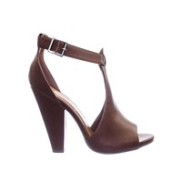 Speakup Block Heel Peep Toe Double Open Shank d'Orsay Pump w Ankle Strap