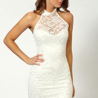 Elisa Sweetheart Halterneck Lace Dress