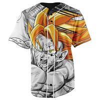 Goku Kamehameha Dragon Ball Z Black & White Button Up Baseball Jersey