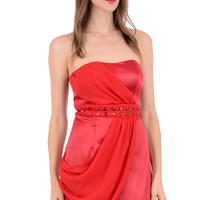 Red Silk Look Boob Tube Evening Dress
