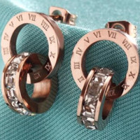 Bvlgari 18K rose gold Roman numerals double ring earrings South Korea wild color clavicle chain
