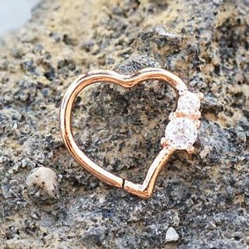 Annealed Rose Gold Jeweled Heart Cartilage Earring