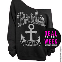 Anchor Bridesmates - Black with Silver Off The Shoulder Slouchy Sweatshirt