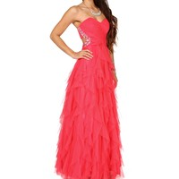 Camillia-Rose Strapless Prom Gown