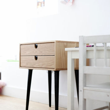 2014 Collection Mid-Century Scandinavian Side Table / Nightstand - Two drawers and retro legs made of solid oak