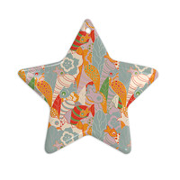 """Akwaflorell """"Fishes Here, Fishes There 2"""" Multicolor Ceramic Star Ornament"""