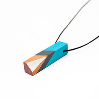 Geometric wooden tribal necklace - turquoise blue, grey, white, natural wood - minimalist, modern jewelry