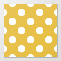 Beige and White Polka Dots Stretched Canvas by Kat Mun