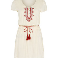 Cream and Red Embroidered Tie Waist Dress