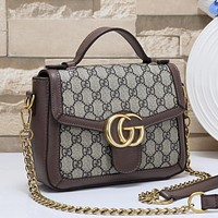 LV Louis Vuitton GG Embossed Letters Flap Shoulder Bag Chain Crossbody Bag Coffee
