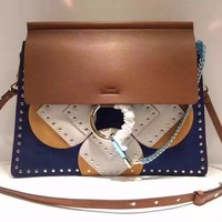 [Exclusive] CHLOE Faye bag with rosace patchwork in suede & smooth calfskin and studded
