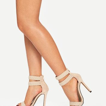 Woven Ankle Strap Stiletto Heels