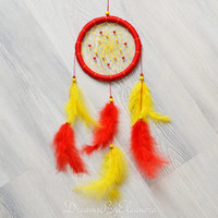 Red and Yellow Dreamcatcher / Dream Catcher with carnelian gemstone beads, wall decor, bedroom decor, nursery decor