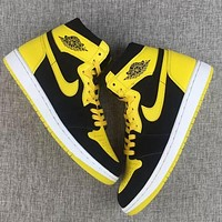 Nike Air Jordan 1 Retro AJ1 Fashion Men Women Casual High Top Sport Basketball Shoes Sneakers Black&Yellow