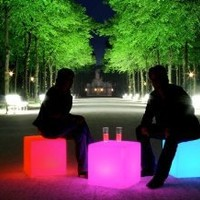 "Outdoor LED Light Cube 16"" - Cordless with remote control, Waterproof"