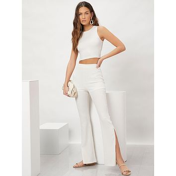 SHEIN Textured Solid Crop Tank Top & Slit Hem Flared Leg Pants Set