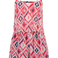 Multicolor Tiered Front Romper With Open Back - Multi