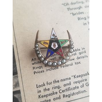 Order of the Eastern star Freemason seed pearl crescent moon gold filled brooch enamel pin