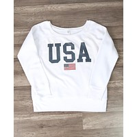 Distracted - USA Graphic Women's Sponge Fleece Wide Neck Sweatshirt - White