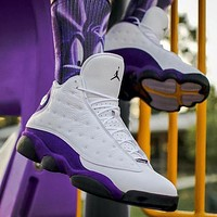 NIKE Air jordan 13 high top men's and women's color matching sneakers casual shoes White&Purple