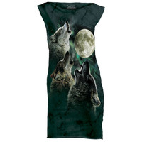 THREE WOLF MOON Womens Mini Dress Howling Wolves Wolfpack Night Sizes S M L NEW!