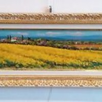 ITALIAN PAINTING YELLOW FLOWERS LANDSCAPE TUSCANY OIL ORIGINAL MAURO BENDINELLI