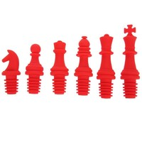 6pcs Chess Shape Silicone Red Wine Champagne Bottle Stopper Seal Cap Corks Pouring Funnel Red  Kitchen Tool Soy Sauce Bottle