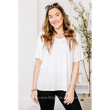V Neck Basic Top | White