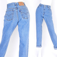 Sz 6 Levis 550 High Waisted Mom Jeans - 90s Vintage - Stone Washed Medium Blue Tapered Loose Relaxed Fit Womens Jeans -  27 Waist