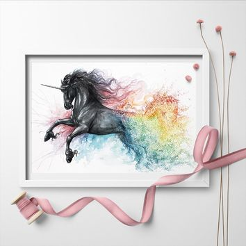 Wall Art Picture Watercolor Unicorn Modern Animal Wall Art Canvas Painting Poster And Print Home Decor No Frame