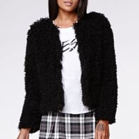 Kendall & Kylie Curly Faux Fur Sherpa Coat - Womens Jacket - Black