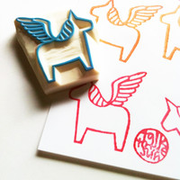 pegasus rubber stamp. pegasus stamp. hand carved rubber stamp. dala horse. without tail. no2. READY TO SHIP
