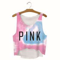 Womens Pink Printed Show Hilum Tank Top Sports Vest Summer Gift - 04