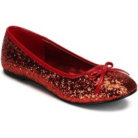Glitter Star Flat Costume Shoes - Adult (Red)
