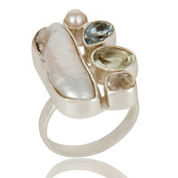 Amethyst, BT, Fresh Water Pearl Multi Gemstone Handmade Ring