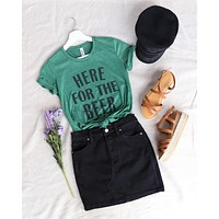 Distracted - Here for the Beer - Saint Patrick's Day Women's Cotton Blend T-Shirt in Heather Dark Green