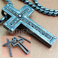 Mens Retro Burnished Separable Cross Zirconia Pendant Necklace Chain Rider 77