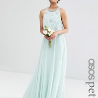 ASOS Petite | ASOS PETITE WEDDING Bridesmaids Embellished Crop Top Maxi at ASOS