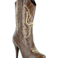 Brown Embroidered Ankle Cowgirl Boots