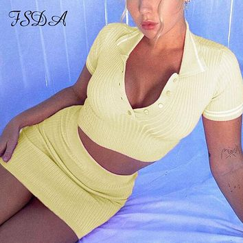 Two Piece Set Summer Knit Crop Top V Neck Short Sleeve And Mini Bodycon Skirt Casual Women Outfit Sexy