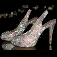 """CHARLIE CO. AB Crystal Strass Slingback Peep Toe 4.5"""" High Heels Bridal Wedding Prom Evening Sparkly Occasion Leather Designer"""