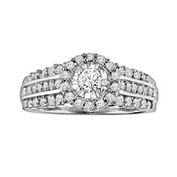 Love Always Round-Cut Diamond Frame Engagement Ring in Platinum Over Silver (7/8 ct. T.W.) (White)
